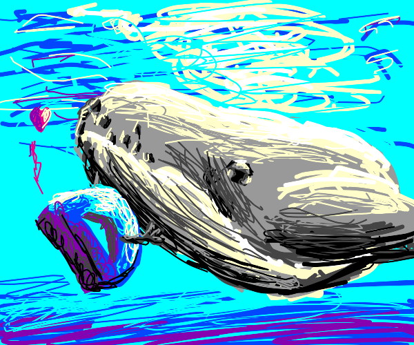 Drawception logo falls in love with a whale
