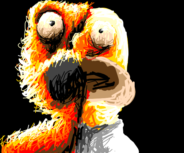 Elmo and Homer stitched together
