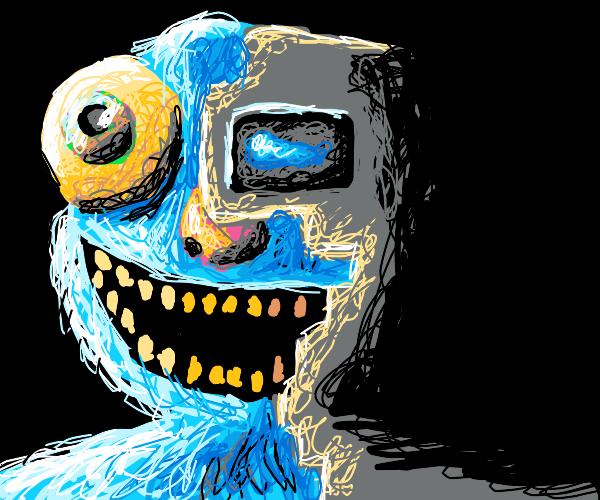 Blue Elmo is a evil half robot