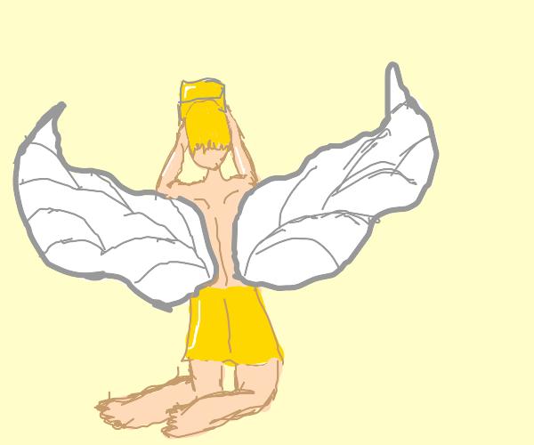 Angel holding a golden box
