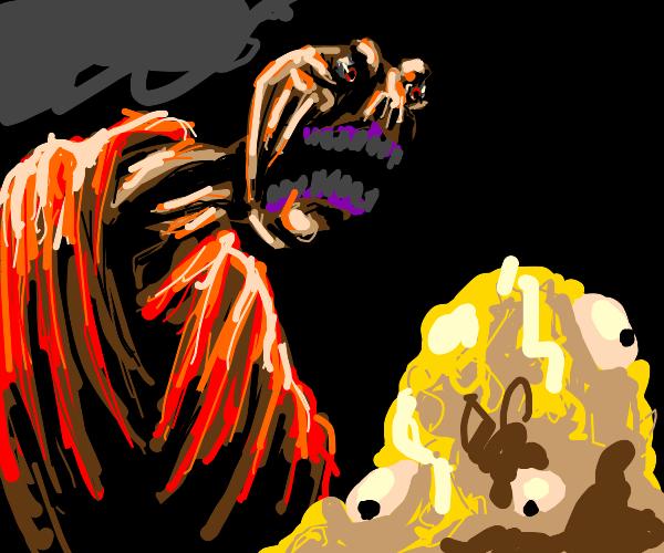 man screams at yellow blob