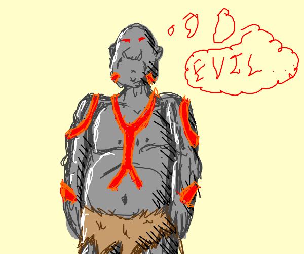 Evil ogre thinking about evil