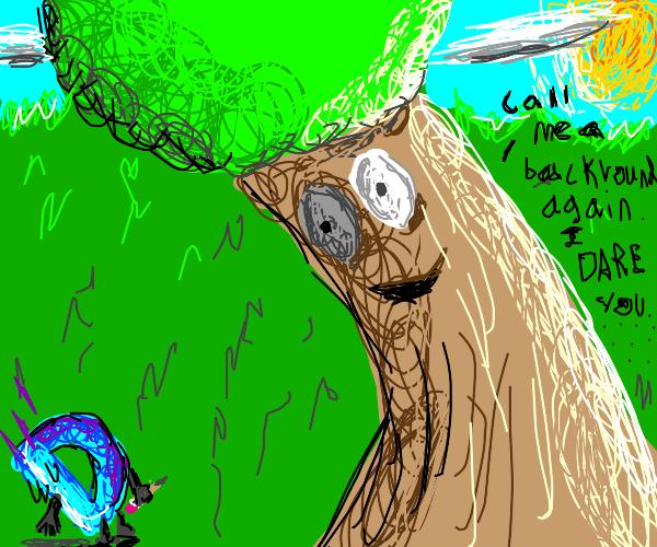 a big happy tree intimidates drawception