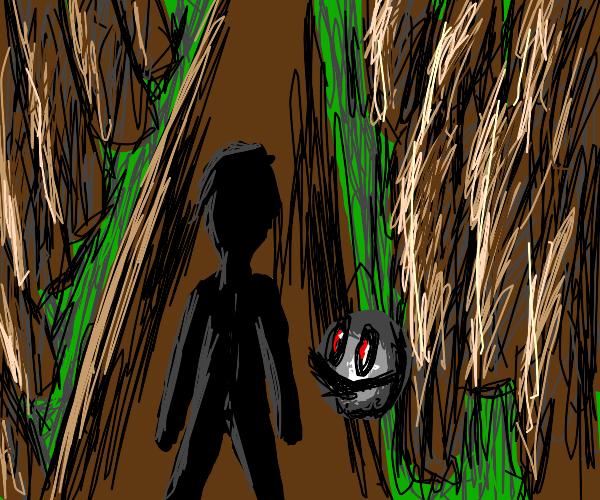 Nightmare ball follows you through forest