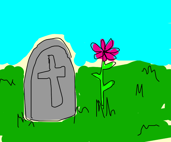 A tombstone next to a growing pink flower.
