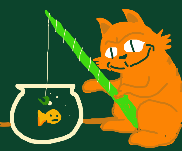 a cat fishing for a goldfish from a fishbowl