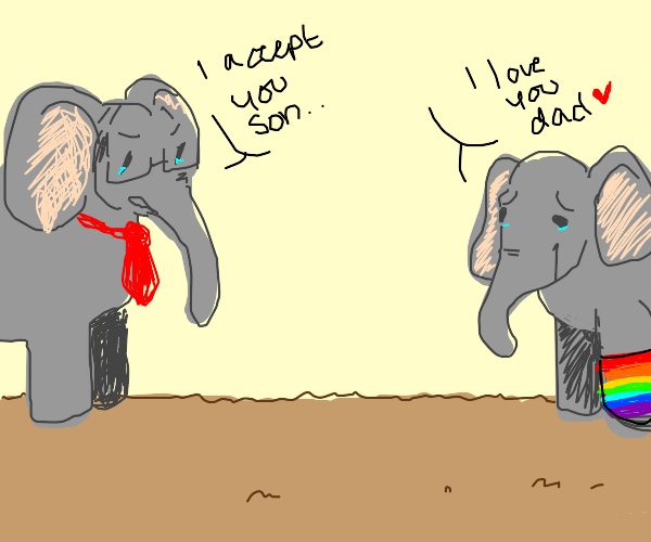 Elephant comes out of the closet
