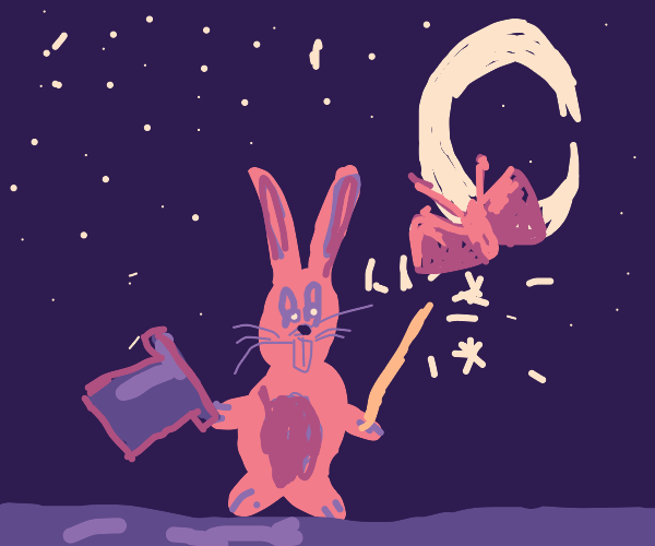Magical spirit bunny at night
