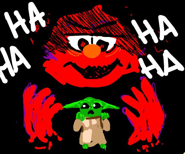 Elmo laughing at baby yoda