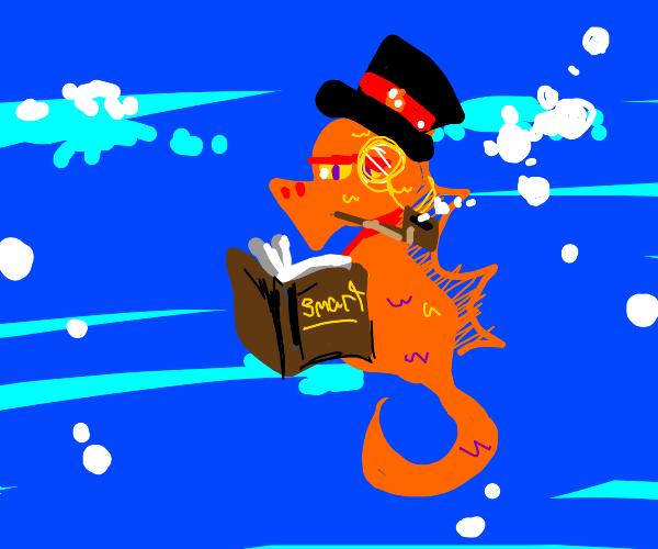 seahorse intellectual reads book, smokes pipe