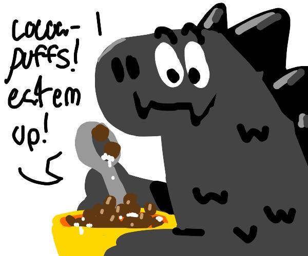 Godzilla eating Cocoa Puffs