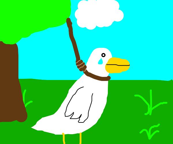 Sad depressed duck