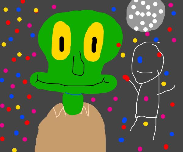 squidward enjoying a party