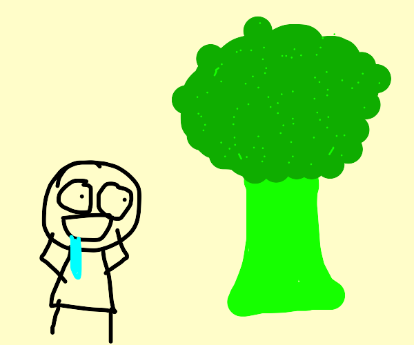 hungry man shocked by life size broccoli