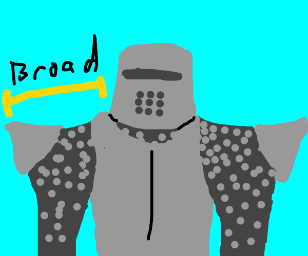 Armored knight with very broad shoulders