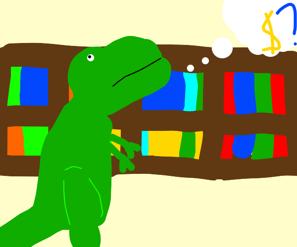 dinosaur contemplates what to buy