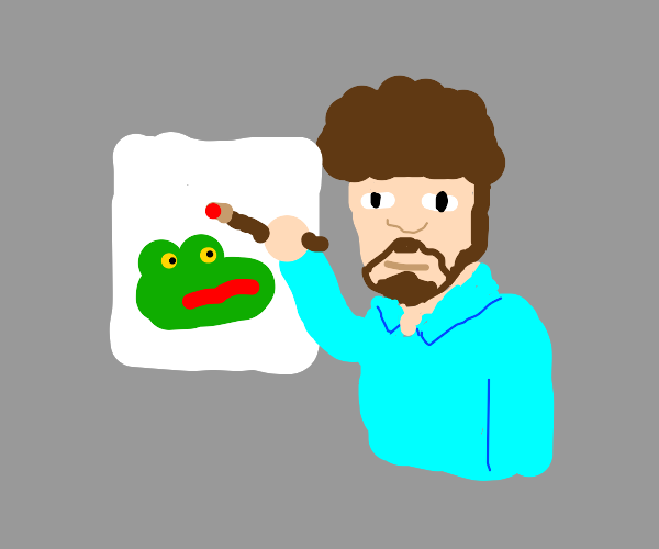 Bob Ross is painting his art