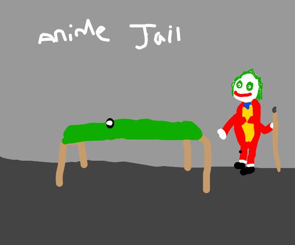 Joker playing B-ball in anime jail