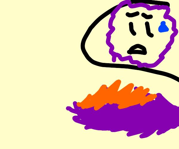 purple furry's tail on fire