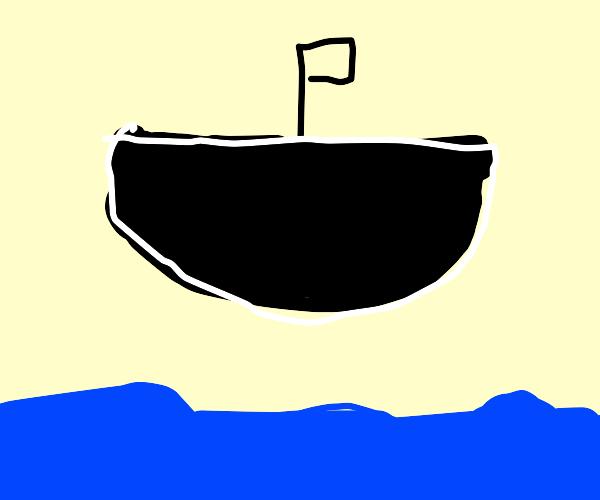 Black flying ship over ocean