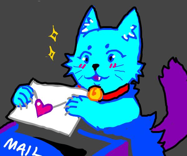 a blue cat sending a love letter