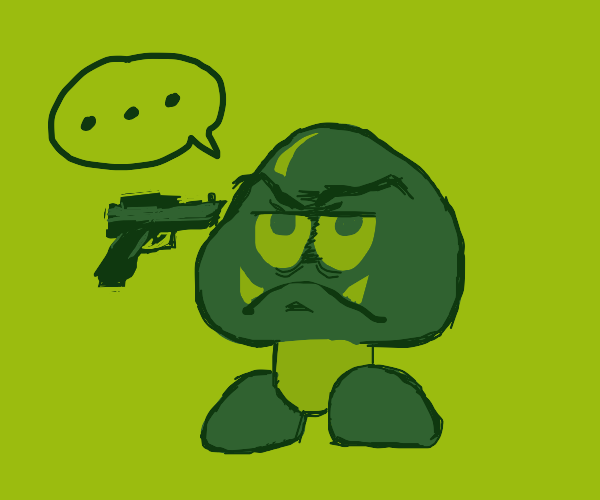 Emotionless Goomba gets shot by gun