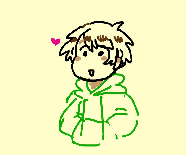 kid in a green hoodie