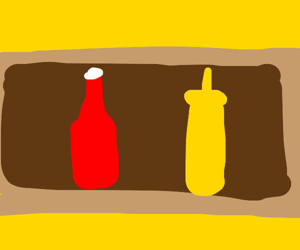 Ketchup and Mustard on the shelf