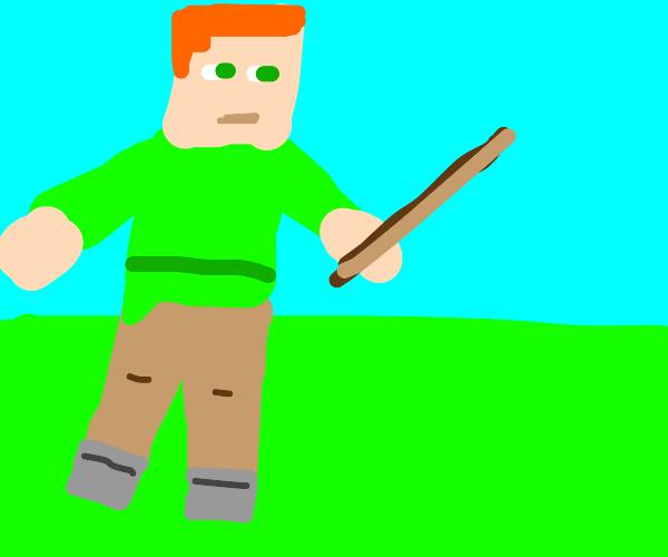 minecraft player holding stick