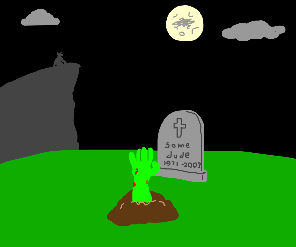 Hand emerging from grave on full moon