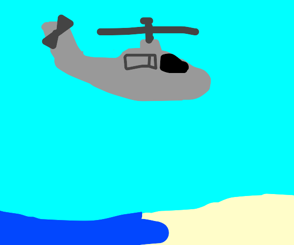 helicopter flying near a beach