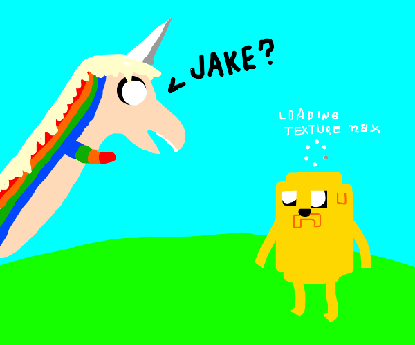 low res jake the dog with lady rainicorn