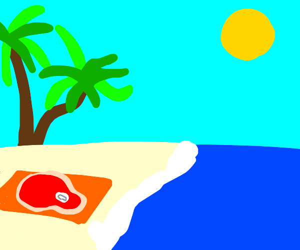 a piece of meat is enjoying the sun at beach