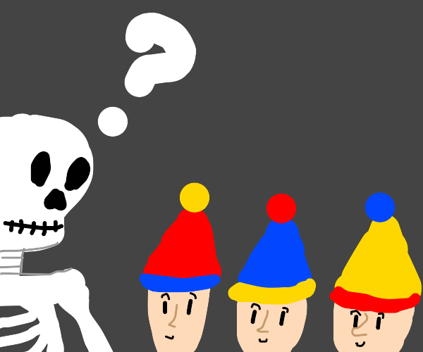skeleton confused because of 3 kids w/ hats