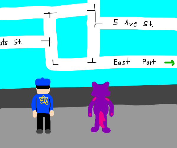 cop and purple furry look at a map
