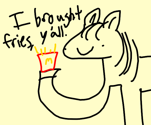 Horse brings fries