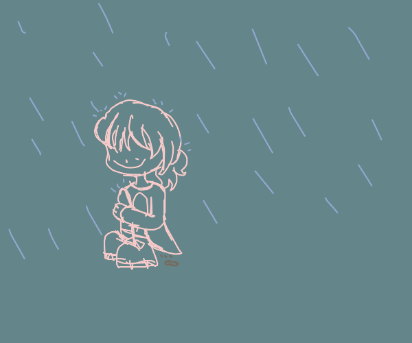 Girl pooping in rain