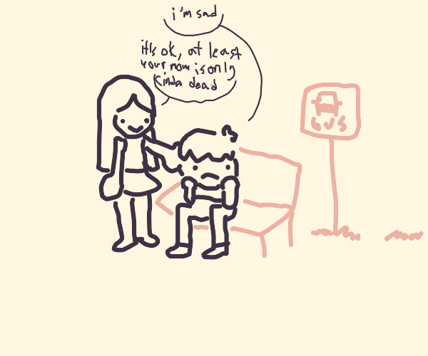 Girl comforts sad boy at bus stop