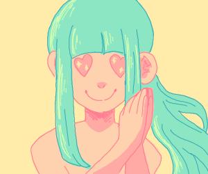 green hair anime girl in love