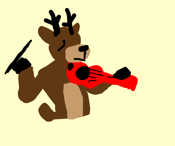 Reindeer playing the violin