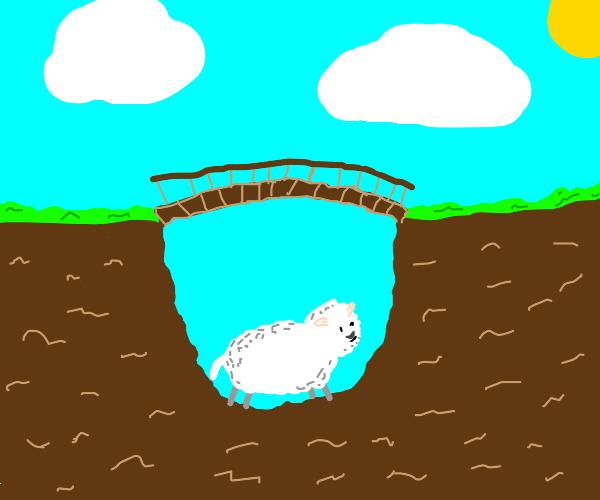 a sheep under a bridge