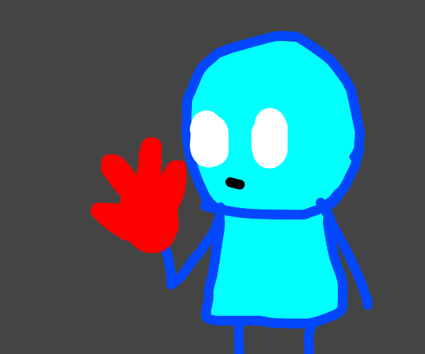 blue guy w red hand