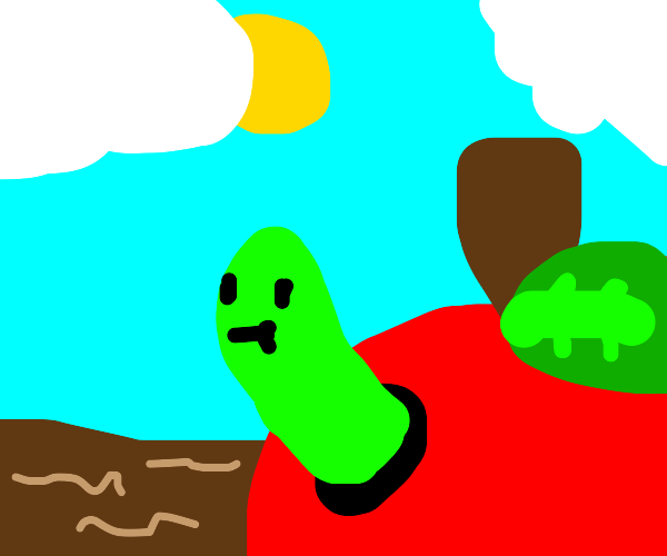 Worm eats out apple