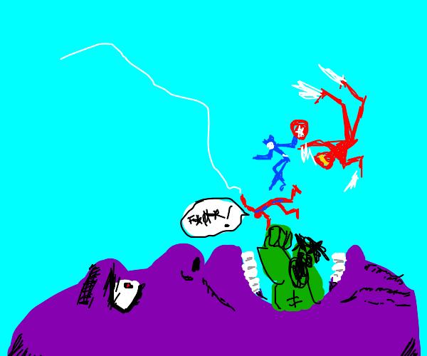 Thanos eats the avengers