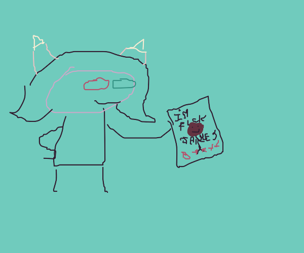 Terezi Pyrope shows off a drawing of Dave