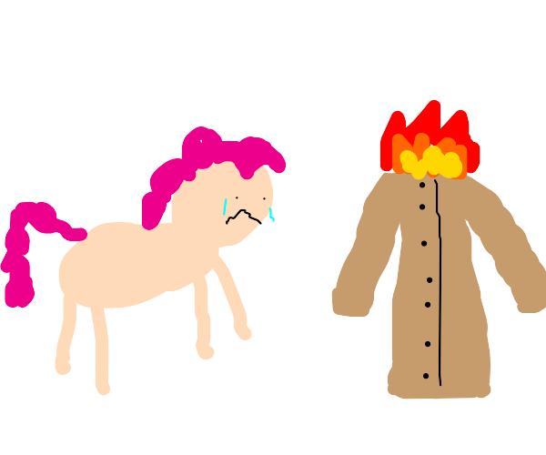 Pony's coat is on fire