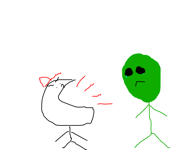 Kid yelling at an alien