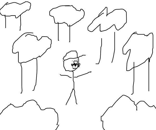 Mario in the woods