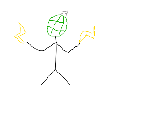 man with a grenade head and lightning hands