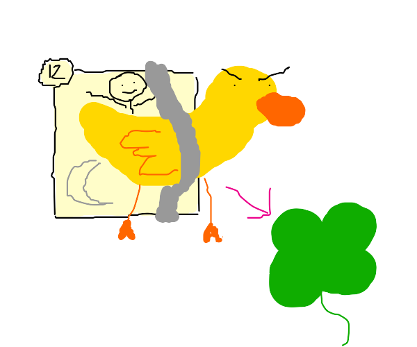 duck strapped to panel for good luck